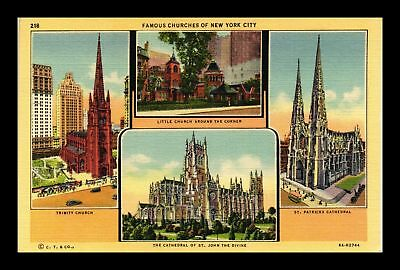 Dr Jim Stamps Us Famous Churches New York City Linen View Postcard