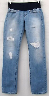 "GAP 1969 Real Straight Maternity Distressed Jeans Demi Panel  Womens 2 x 31"" Ins"