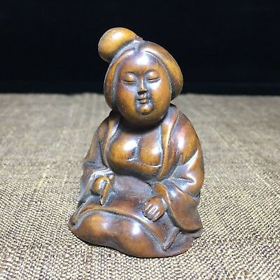 Antique Rare Handwork Collectible Boxwood Japanese Prostitute Netsuke Statue