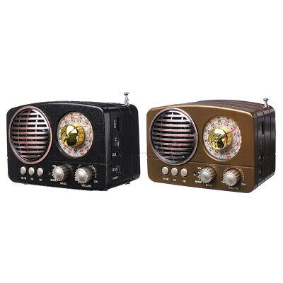 bluetooth Portable Retro Radio AM FM SW AUX USB TF Card MP3 Player Rechargeable