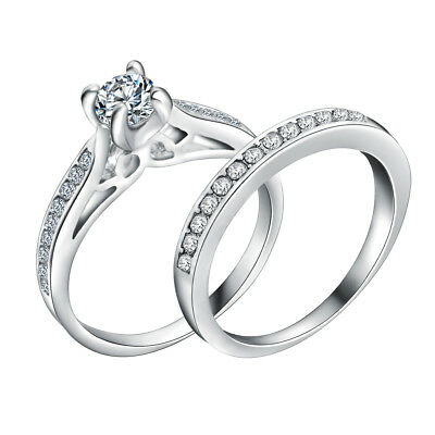 Womens 925 Sterling Silver CZ Crystal Engagement Wedding Ring Band 2 Piece