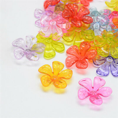 30x Transparent Acrylic Flower Bead Caps Jewelry Findings 25.5x26x7.5mm Hole 2mm