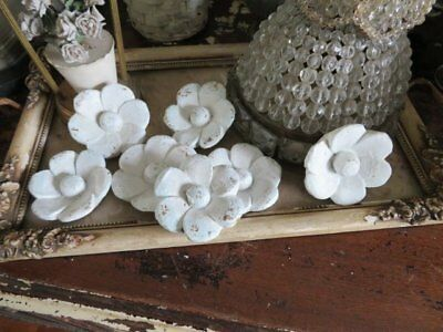 7 AWESOME Old Vintage Architectural WOOD FLOWERS White for Display