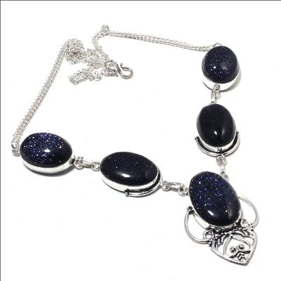 Blue Sun Stone Ethnic Jewelry Handmade Necklace 32 Gms LN-13878