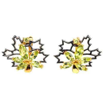 Natural Aaa Green Peridot Marquise & Round Sterling 925 Silver Flower Earring