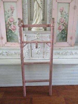 THE BEST Old Vintage Wood & Metal HANGING LADDER Chippy PINK Paint HOME DECOR