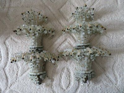 EXQUISITE PAIR Old Vintage BEADED SCONCES WALL LIGHTS CRYSTALS Tiers of Strands