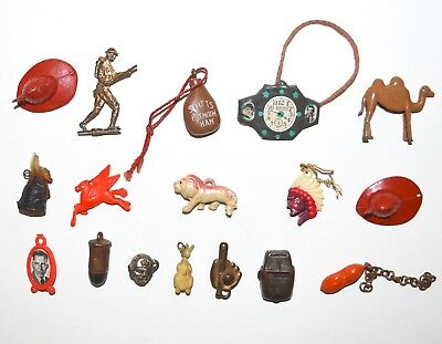 Vintage 1930s 1940s Cracker Jack Toy Prizes Charms Bread Ties Premiums