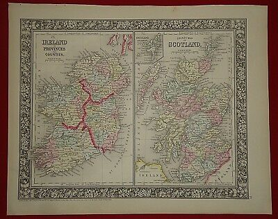 Vintage 1860 IRELAND - SCOTLAND MAP Old Antique Original Atlas Map 112818