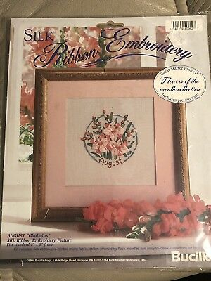Silk Ribbon Embroidery Kit Pattern August Gladiolus