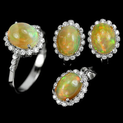 Natural Rainbow Opal Oval Cabochon 9X7 Mm.& Cz Sterling 925 Silver Set Size 7.25