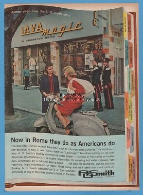 1963 Vespa Scooter Lava Magic Laundry Rome Italy AO Smith Water Heater Ad
