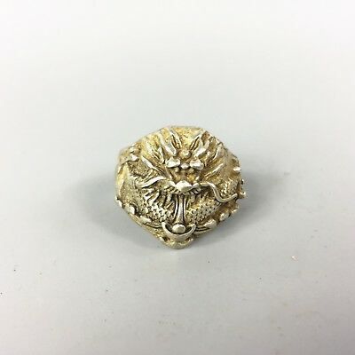 Antique Chinese old Tibet Silver Handwork auspicious Dragon Collectible Ring