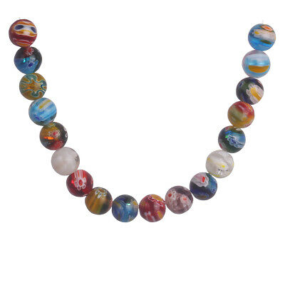 50Pcs 6mm Round Multicolor Glass Flower DIY Loose Beads Jewelry New Finding Gift