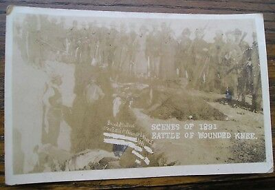 Vintage Real Photo Picture Postcard of 1891 Battle of Wounded knee Mass Grave