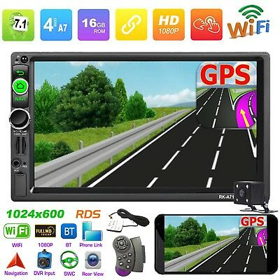 7in 2 Din Touch 4-Core Android Car MP5 Player GPS RDS AM FM Radio WiFi BT+Camera