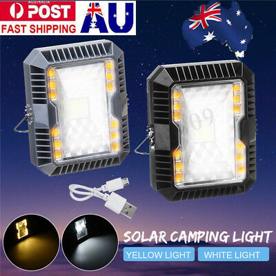 Portable Rechargeable Solar Power LED Flood Light Outdoor Camping Work Spot Lamp