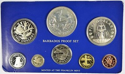 1976 Barbados Proof Set Minted at the Franklin Mint W/Silver $10&$5 (b496.9)