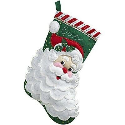 Bucilla Jolly Saint Nick Stocking Felt Applique Kit-18-inch Long - Christmas 18