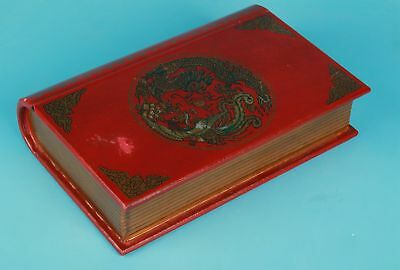 Second-Hand Collection Of Red Leather Books Treasure Box Hidden Gift