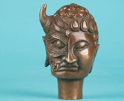 Bronze Hand Old Devil Buddha Statue Crutches Walking Stick Head Accessories
