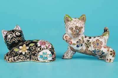 2 Cloisonne Black White Cat Statue Rare Combination Old Handmade