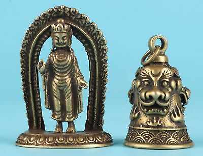 2 Unique Chinese Bronze Statue Pendant Exorcist Mascot Collection Gift