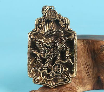 Sacred Chinese Bronze Pendant Plate Kylin Hollow Mascot Collection Gifts