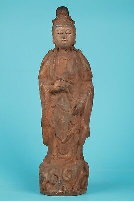 Antique Chinese 11Inch Buddha Kwan-Yin Wood Hand Carved Statue Collectable