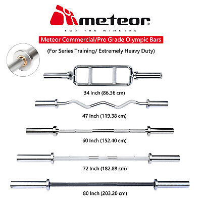 METEOR Olympic Triceps Ez Curl Straight Bar  Barbell Weight Fitness Gym Training