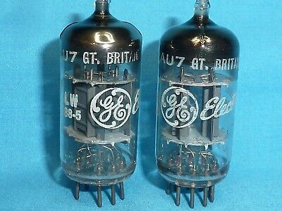 2 Mullard 12AU7 Labeled for GE Made at Blackburn Plant in 1966 Test Very Strong