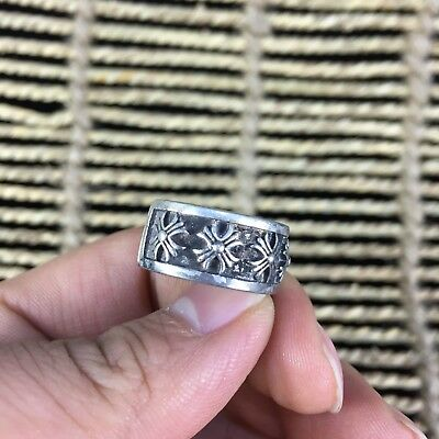 Antique Rare Chinese Collectible Handwork old Tibet Silver Cross N0.8 Ring
