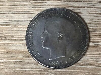 Coin 1 Peso 1895 Alfonso XIII Colonial Puerto Rico