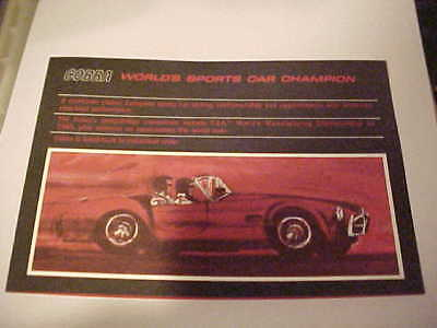 Shelby American---1965 Worlds Fia Champion----Cobra Brochure