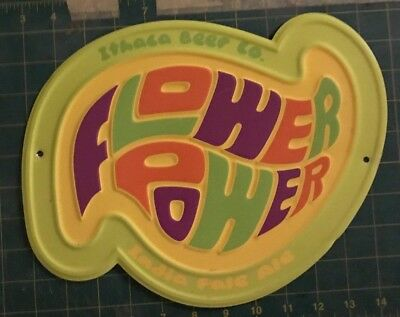 Ithaca Brewing Co Flower Power IPA Beer Sign Tin Metal NY