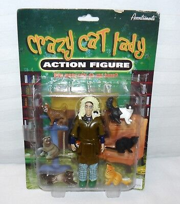 """Accoutrements 2009 Crazy Cat Lady 5 1/2"""" Action Figure W Cats #11377"""