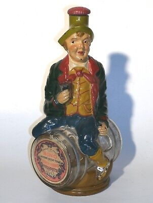 Vintage Figural Wine Bottle Hand Painted Italy