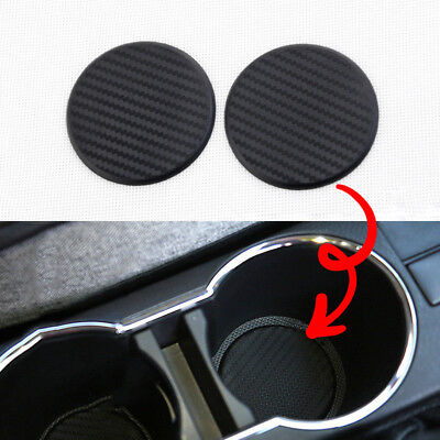 2Pcs Auto Car Accessories Water Cup Slot Non-Slip Carbon Fiber Look Mat Black