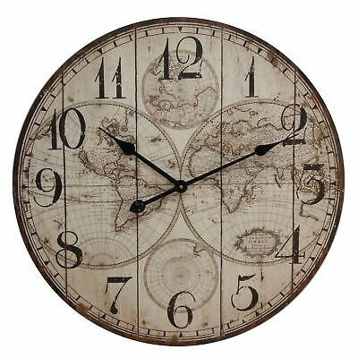 Large Wall Clock Vintage Appearance World Atlas Map Dial 60cm
