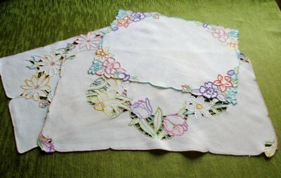 Vintage Tray Cloths Hand Embroidered - Col.3