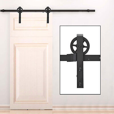8' Sliding Wood Barn Door Hardware Track Set Industrial Wheel Carbon Steel
