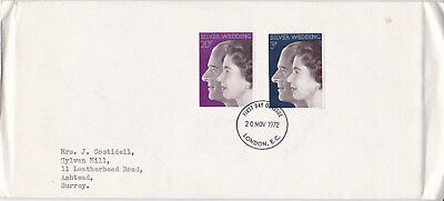 GB 1972 Royal Silver Wedding FDC London EC CDS VGC