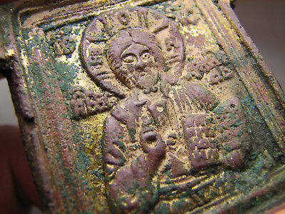 Saint Nicolas Nickolas  ! Relief ! Old  Russian Orthodox Bronze Icon  #989