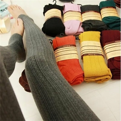 Womens Thick Tights Knit Winter Pantyhose Warm Cotton Stockings Stretchy Pants