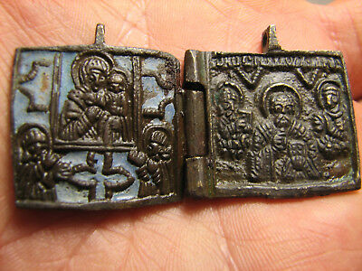 VERY RARE ! ENAMEL !TWO PARTY ORTHODOX  ICON.SAINT NICOLAS +MOTHER of GOD  !#990