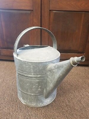 Large Old Vintage Antique Galvanized Tin Farmhouse Garden Watering Water Can