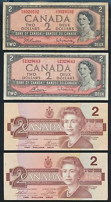 """Canada: 1961-86 $1 & $2 COLLECTION OF 7 DIFFERENT """"QEII PORTRAIT"""" NOTES"""