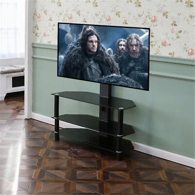 """Black Glass TV Stand With TV Mount Wall Bracket for 32 - 60"""" in 130cm - 3 Tiers"""