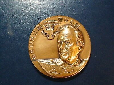 George H.w. Bush 41St President Bronze Medallion Priced To Sell Quickly!