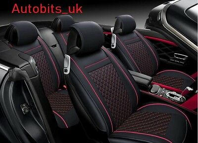 Deluxe Black Red PU Leather Full Set Seat Covers For Dacia Duster Logan Sandero